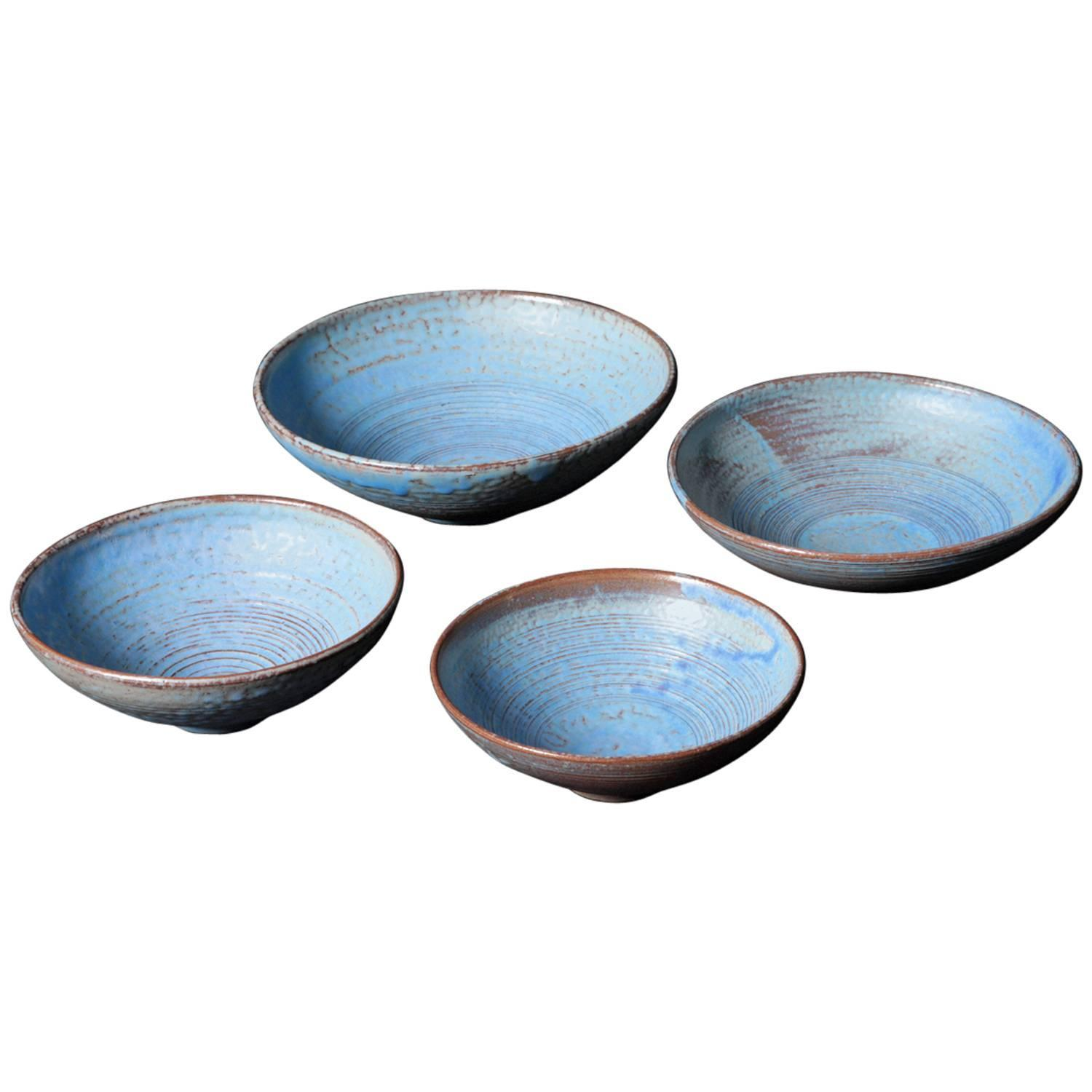 Set of 4 Blue Ceramic Bowls by Susanne Protzmann