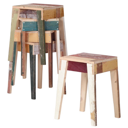 Pair of Oak Stool Scrapwood by Piet Hein Eek